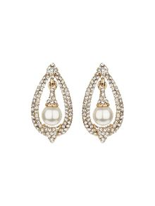 Hanging pearl oval crystal surround set