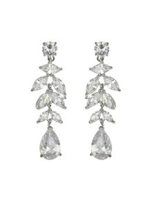 Mikey Leaf hanging zircon crystal earring