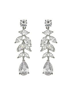 Leaf hanging zircon crystal earring