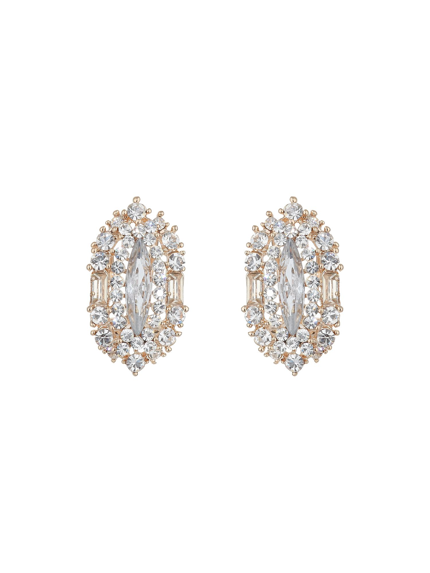 Oval small crystals earring