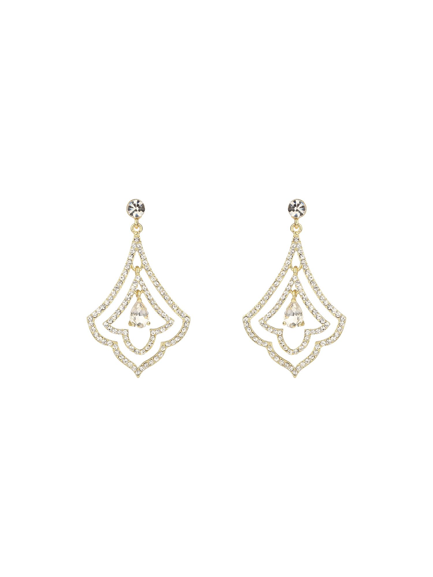Thin crystal surround leaf earring