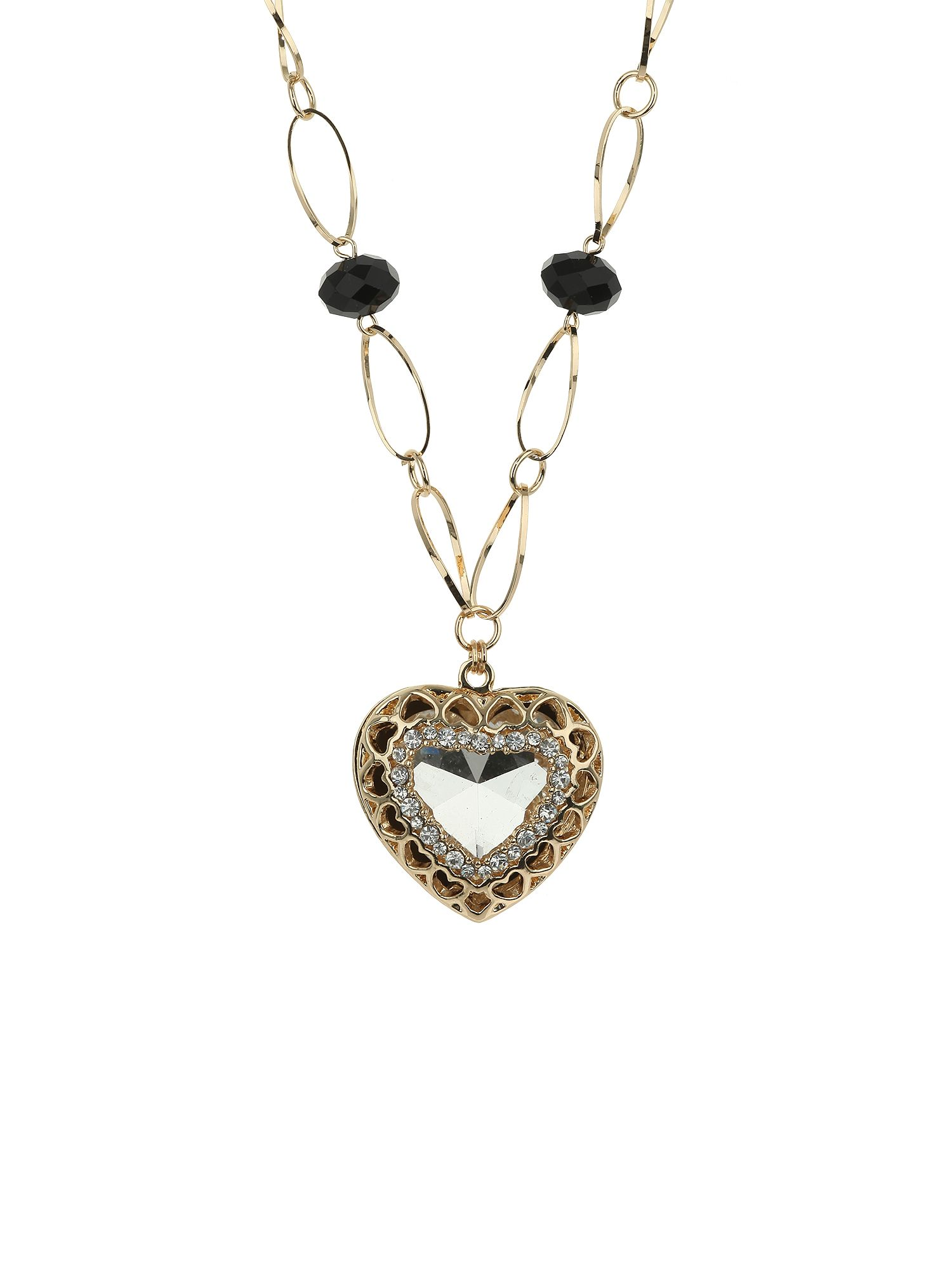 Heart stone with surround crystal neckla