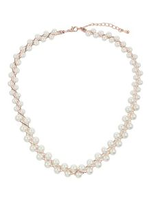 Pearls on twisted wire choker