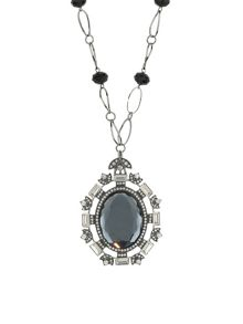 Large oval crystal w baguette necklac