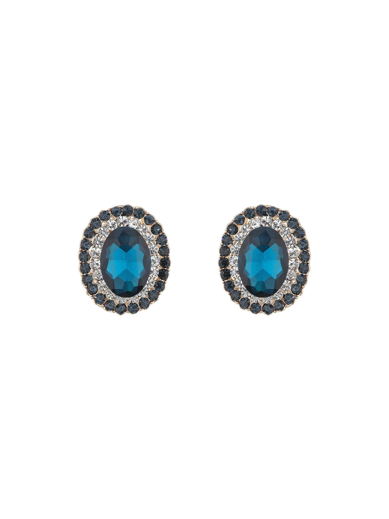 Oval stone surround earring