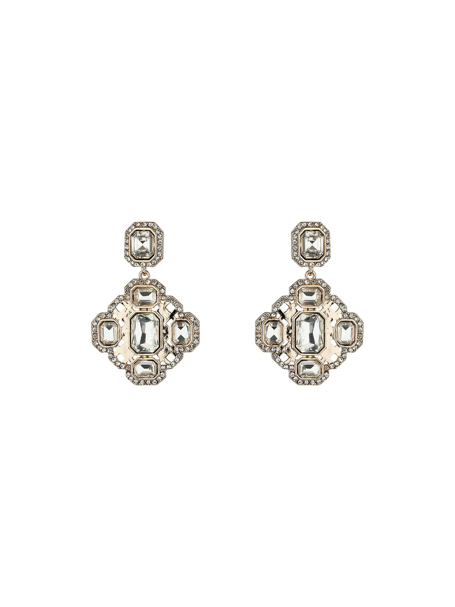 Diamond design crystal stone earring