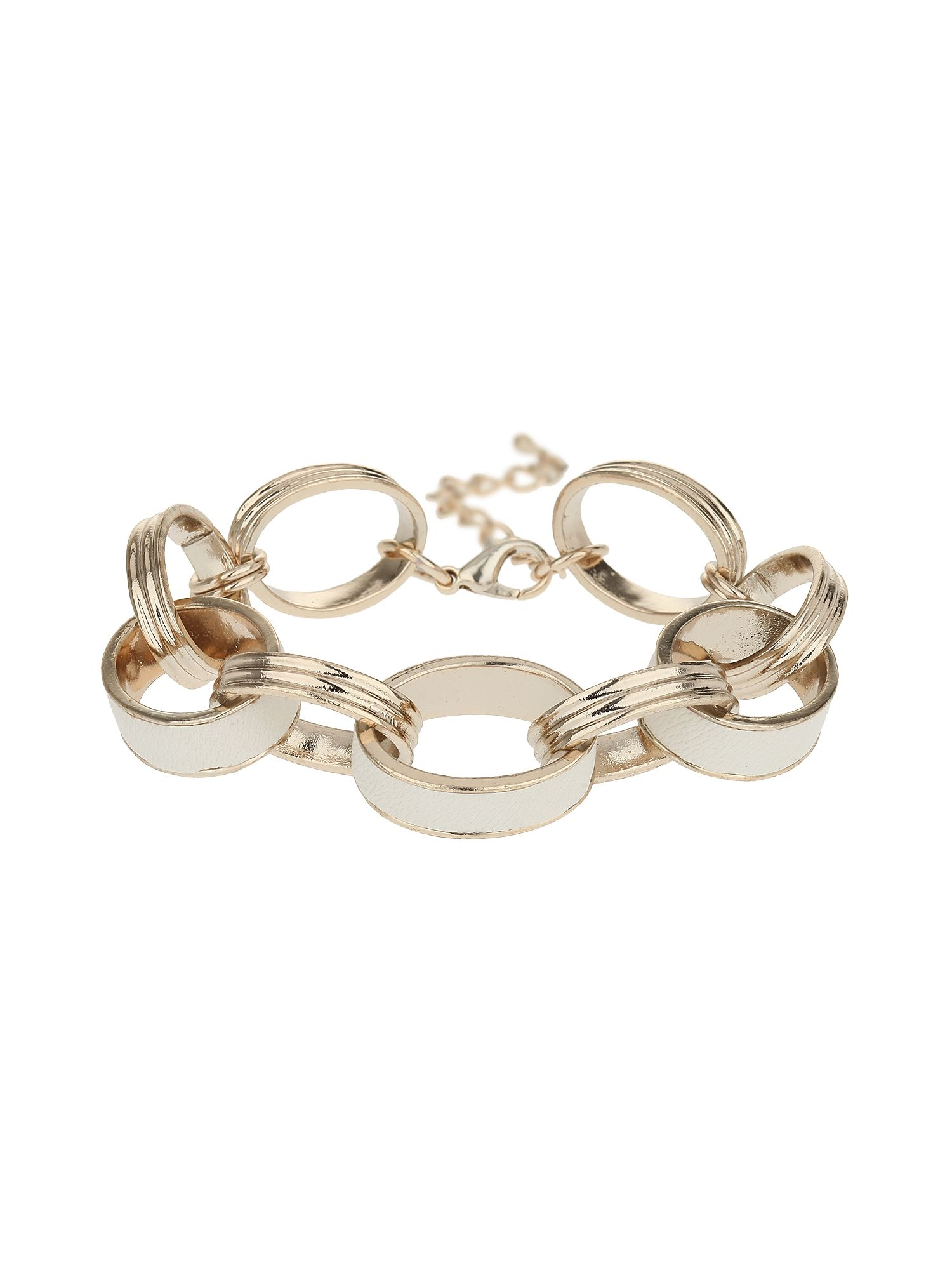 Leather metal rings bracelet