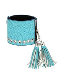 Leather cuff with tassles