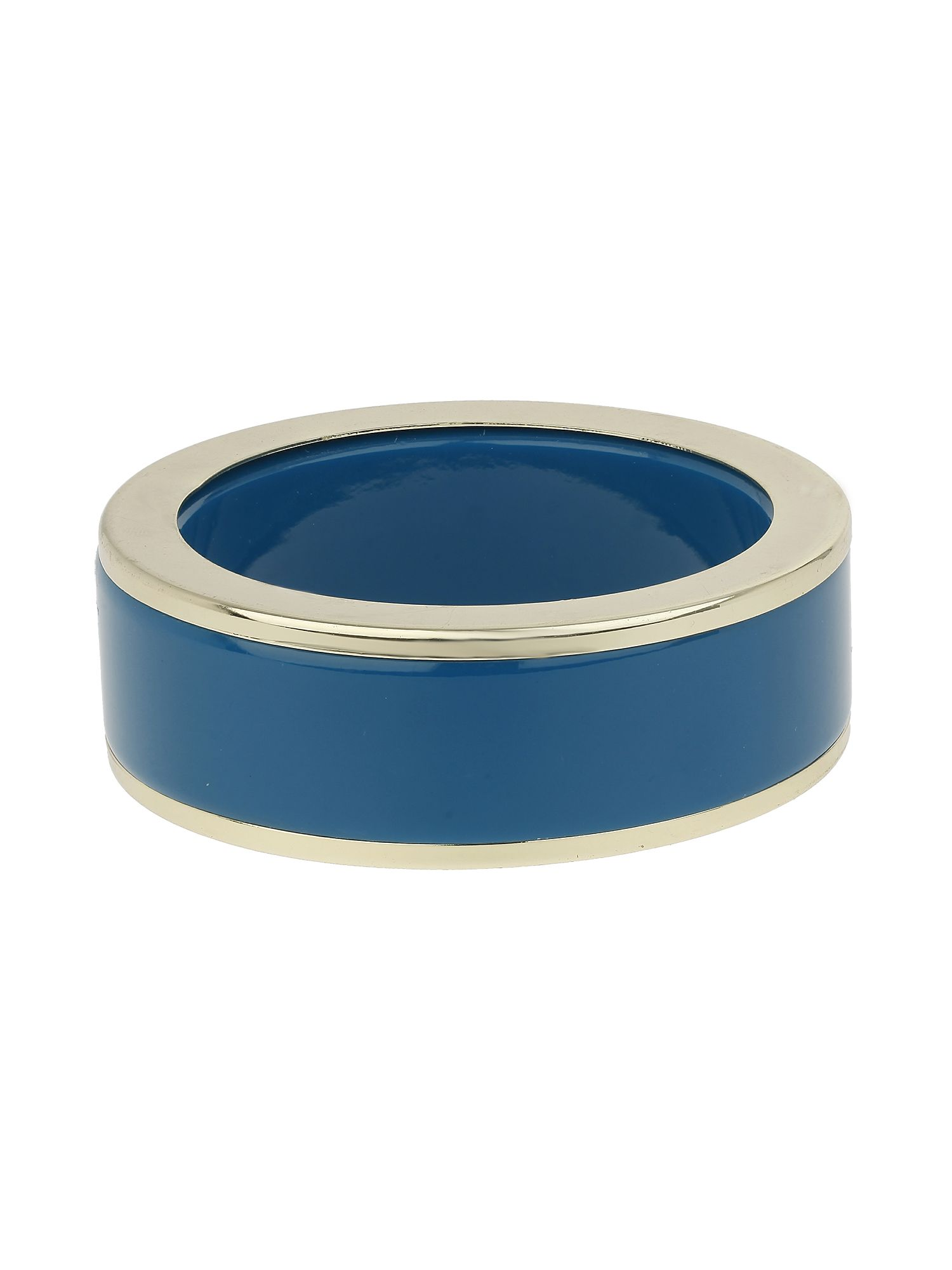 Enamel round bangle with gold edges