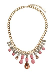 Heavy chain crystal & enamel necklace
