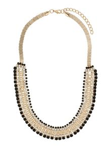 Flat chain multi line crystals necklace