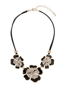 Linked flowers with crystals necklace