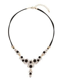 V shape necklace with crystals