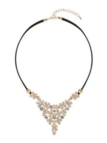 V frill design crystal necklace