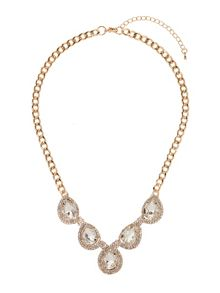 Chain linked oval design crystal necklace