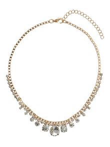 Round crystal box chain linked necklace