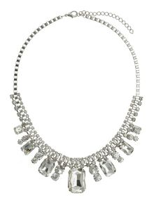 Square crystal box chain linked necklace