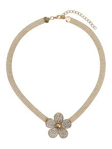 Daisy flower flat chain necklace