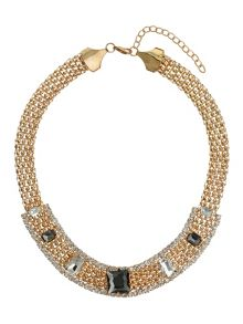 Thick flat chain with stones necklace