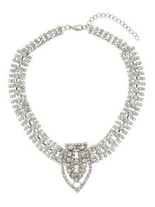 Crystal chains with v pendant necklace