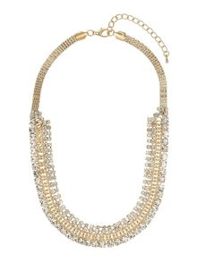 Flat chain with crystal chain necklace