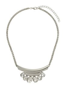 Mikey Oval stone on half moon necklace