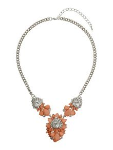 Enamel flower stone centre necklace
