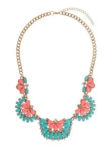 Half moon enamel linked necklace