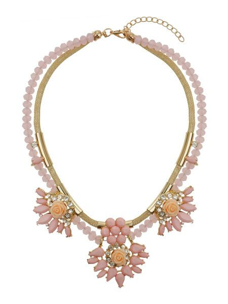 Mikey Flowers on bead and metal chain necklace