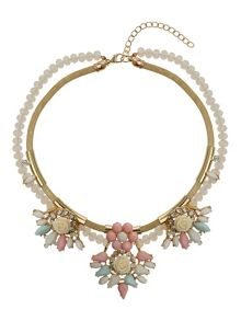 Flowers on bead and metal chain necklace