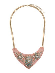 Mikey Flat v base with stone flowers necklace