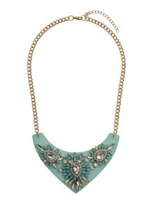 Flat v base with stone flowers necklace