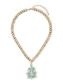 Enamel flower with crystals necklace