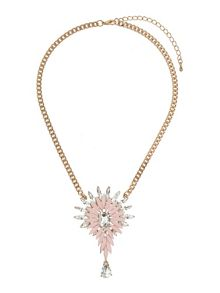 Mikey Enamel flower square crystals necklace