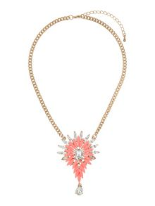 Enamel flower square crystals necklace