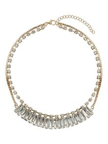 Mikey Multi baugette linked chain crystal neck