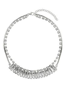 Multi baugette linked chain crystal neck
