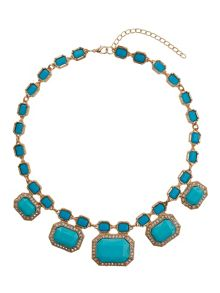 Rectangle enamels chain linked necklace