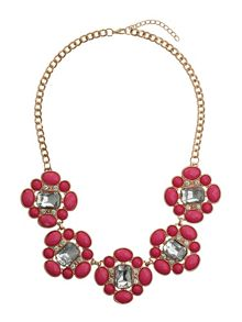 Square enamels chain linked necklace