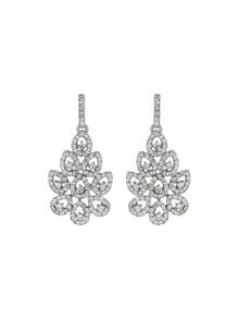 Leaf design marquise crystals earring