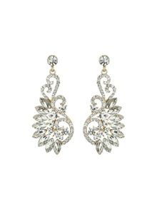 Hook shape fillagry marquise crystal ear