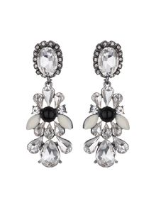 Drop side bow crystals earring