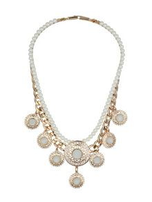Pearl chain enamel multi disc  necklace