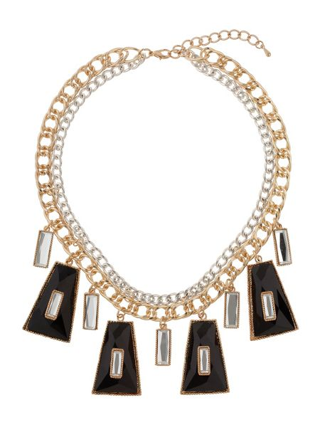Mikey Enamel/crystal hanging linked necklace