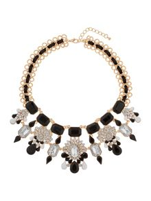 Mikey Multi crystal flowers linked necklace