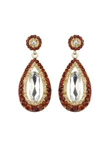 Oval design multi crystals drop earring