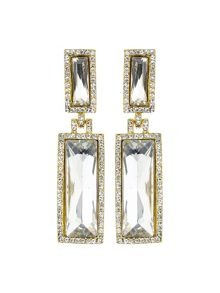 Twin rectangle design drop earring
