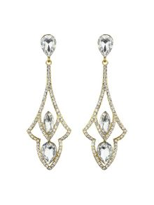 Diamond design curved drop earring