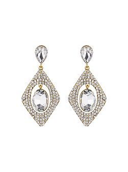 Diamond design hanging centre earring