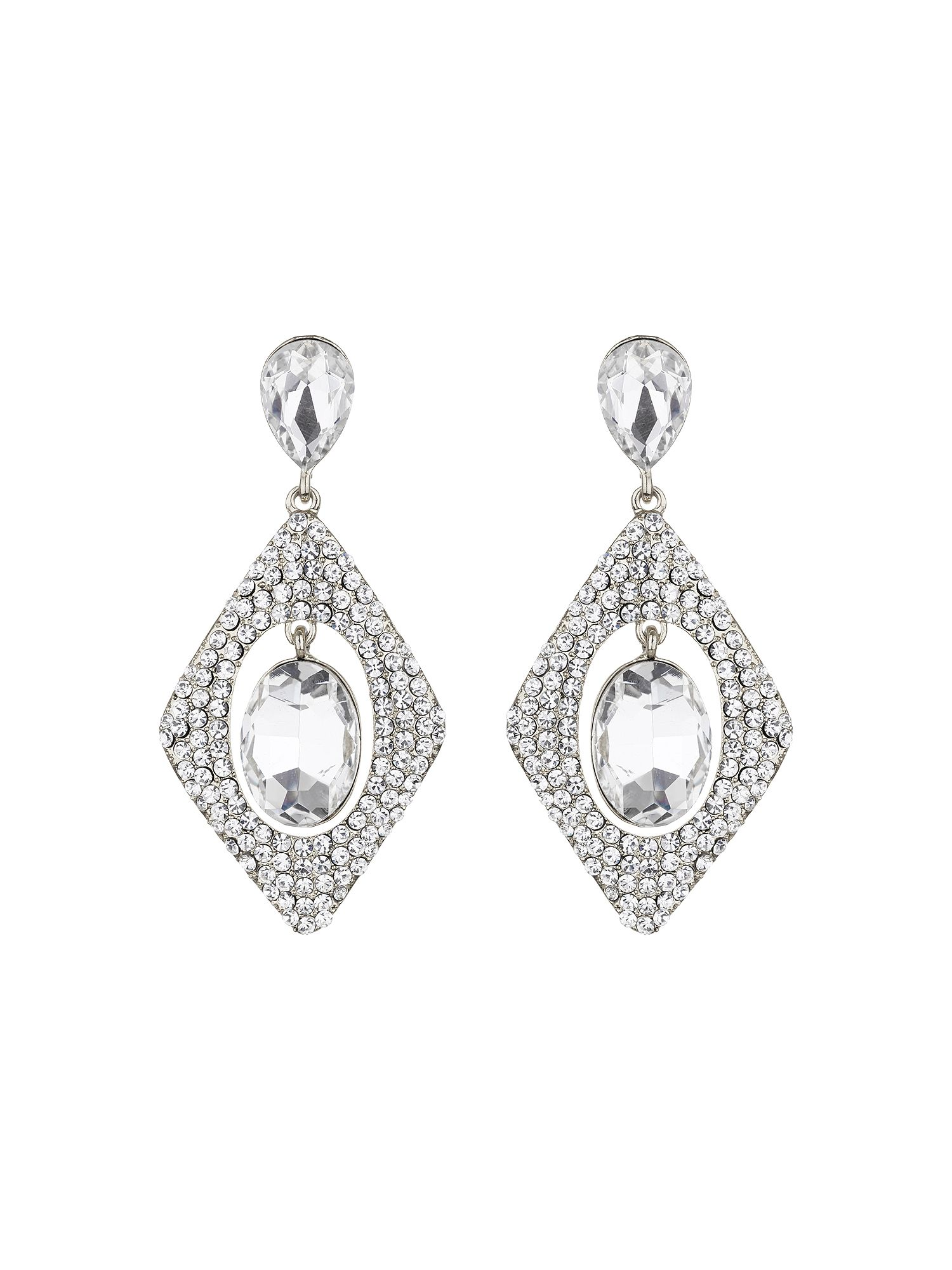 mikey diamond design hanging centre earring